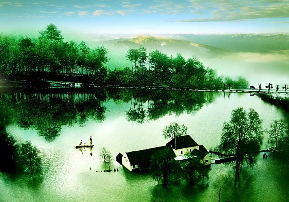 作品描述:《水乡人家》绿树倒影一只小舟在水里荡游,一道美丽水乡风景